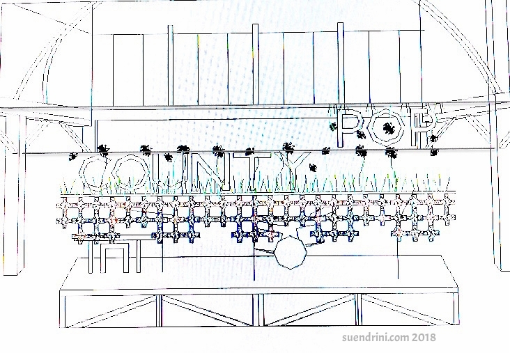Meadow Life - Ontarian meadowsImage: concept sketch of stage art for County Pop music festival stage at the historical Crystal Palace in Picton, Prince Edward County, OntarioUp cycled Medium: discontinued commercial textile, remnant marine rope, single-use plastic bags (as batting filler)Dimensions: 25 feet x 6 feet28 April 2018Good Public Reference:EcojusticePollinator Canada