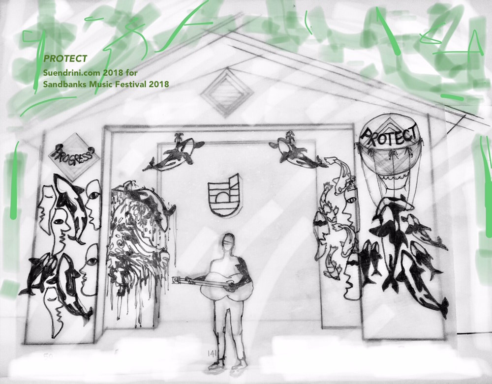 protect - Image: Sketch of original stage art concept for Sandbanks Music Festival 2018, Sandbanks Provincial Park, Prince Edward County, OntarioUp cycled Medium: Discontinued commerical textile, some discarded apparel textile, remnant marine ropeDimensions: total of panels approximately 22 feet by 7 feet15 september 2018Good Public Reference: Ecojustice