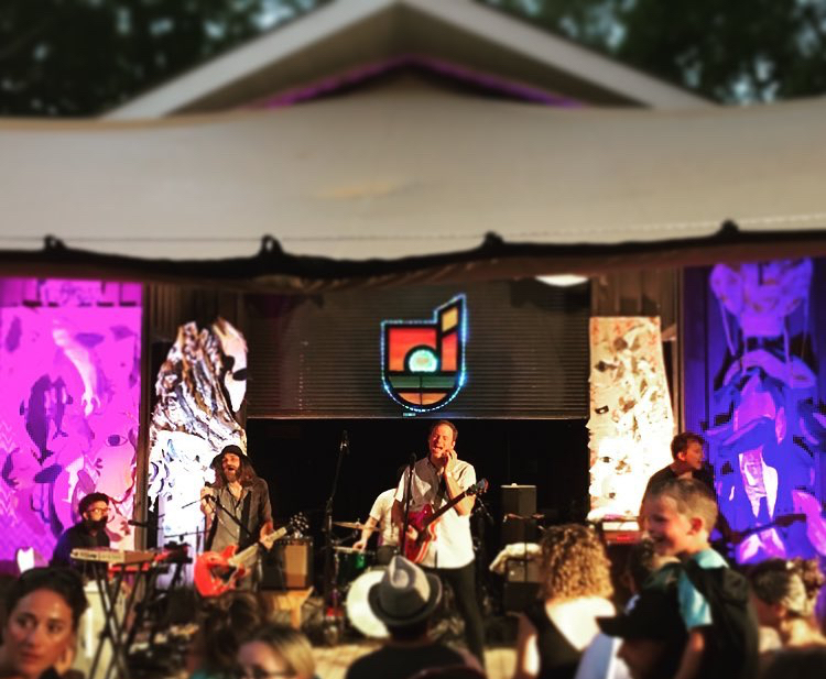 Above: Art On Stage,  Protect,  at Sandbanks Music Festival 2018 with headliners, WINTERSLEEP. Photo by Suendrini  Below: Detail images (left to right) - close up of left side of of stage with wave and killer whale, hot air balloon with close ups of bow and basket, close up of right side of stage with J35's show of grief surrounded by her pod  15 September 2018