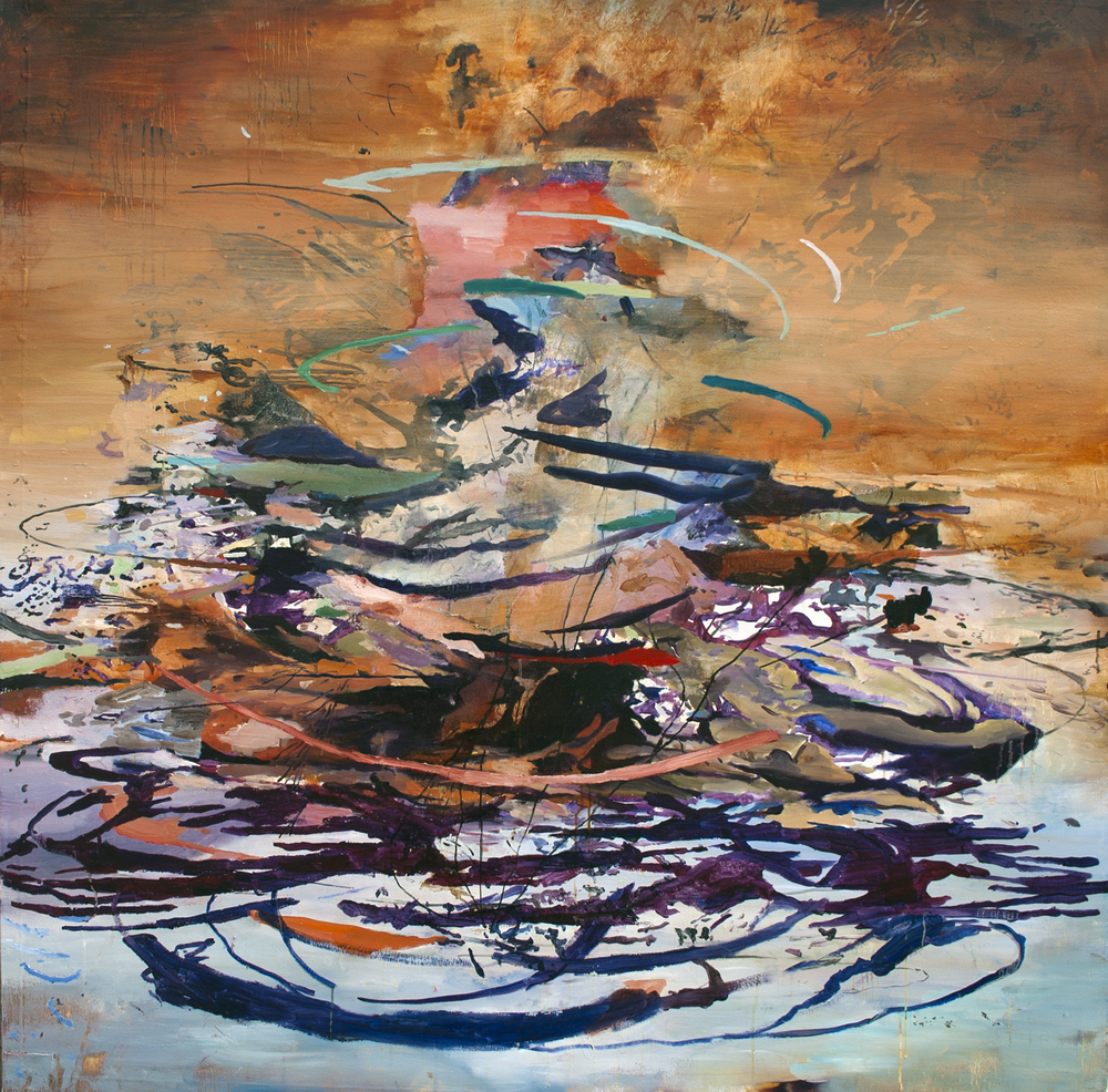 "Cumulus I Oil, acrylic, ink on canvas, 52""x52"", 2013"