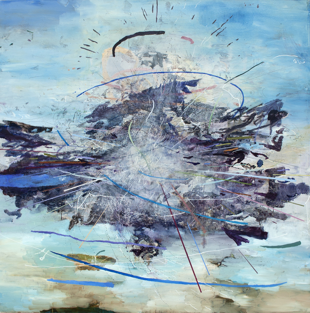 "Cumulus II Oil, acrylic, ink, white-out pen on canvas, 52""x52"", 2013"