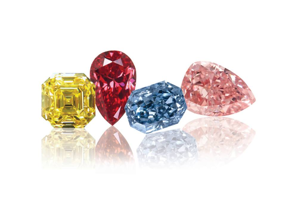Loose natural fancy color diamonds: Fancy Intense Yellow Ascher Cut, Fancy Vivid Purple Pink Paer Shape, Fancy Intense Pink Pear Shape