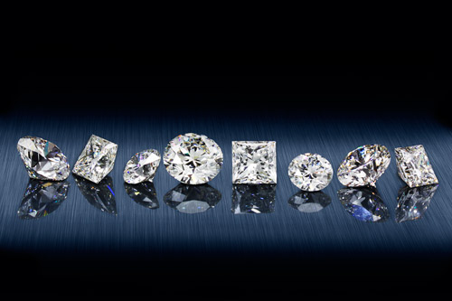 Loose diamonds in various shapes
