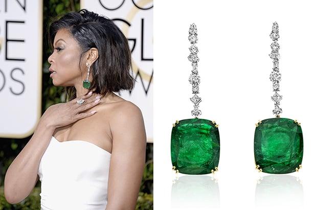 Taraji P. Henson wore Kimberly McDonald earrings set with Gemfields' Zambian emeralds.