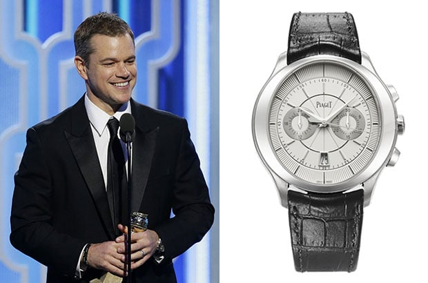 Matt Damon wore the Piaget Gouverneur 18-karat white gold watch.
