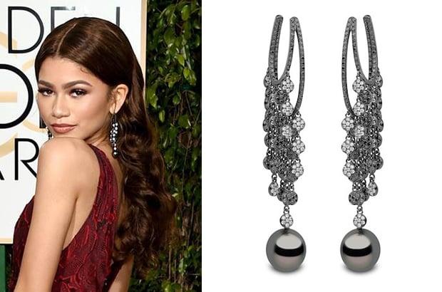 Zendaya dressed in Yoko London's pearl and diamond earrings.