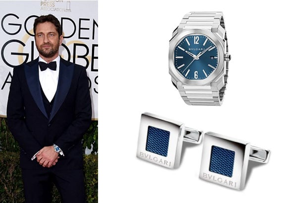 "Gerard Butler, wore Bulgari's Octo Solotempo wristwatch with a pair of ""Quadrato"" cufflinks, made in sterling silver with blue enamel."