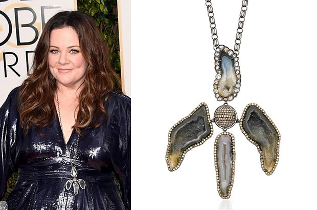 Melissa McCarthy also wore Kimberly McDonald jewels, accessorizing with the designer's one-of-a-kind dark geode diamond pendant on a handmade chain, from the Orchide collection.