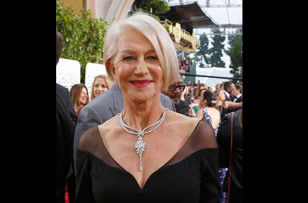 "Helen Mirren wore Harry Winston's ""Secret Cluster"" diamond necklace and bracelet, as well as a pair of Winston Cluster earrings."