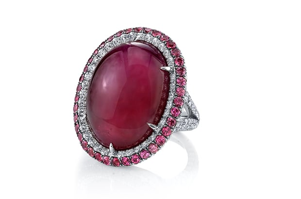 Sophia Bush donned this oval-shaped cabochon ruby ring by Martin Katz.