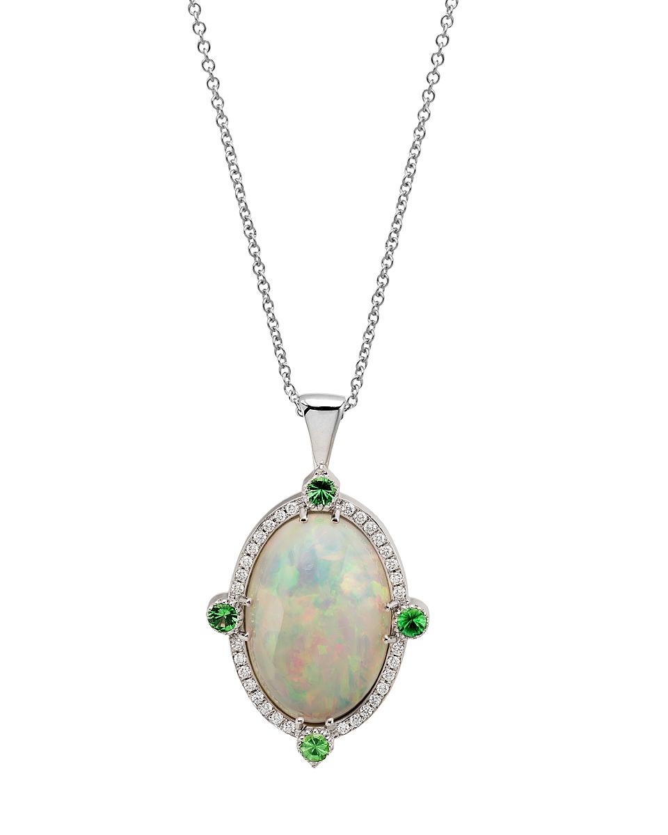 Custom made 14K WG pendant with Australian White Opal, peridots and diamonds.  Price: $ 1,450.00