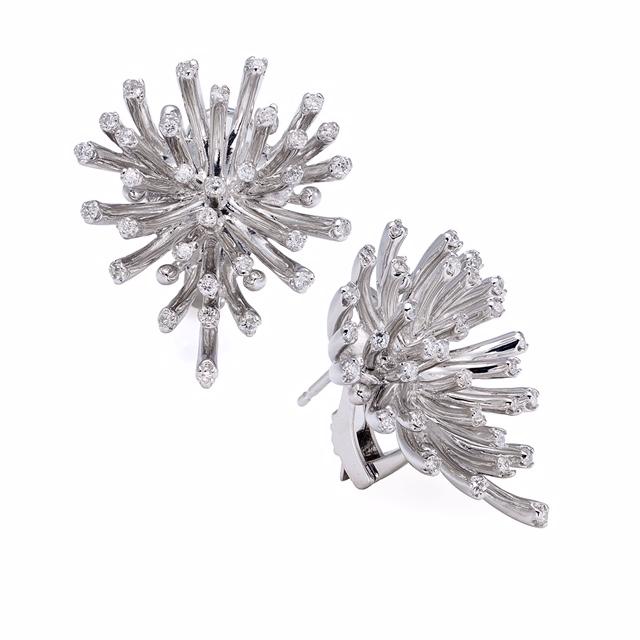 One of a kind, custom made 18K WG diamond earrings.  Price: $ 890.00