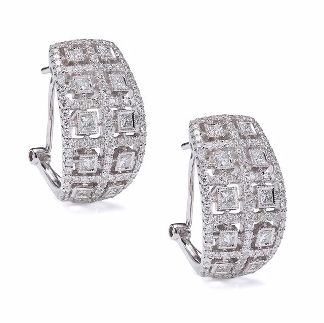One of kind 18K WG diamond earrings.  Price: $ 2,550.00