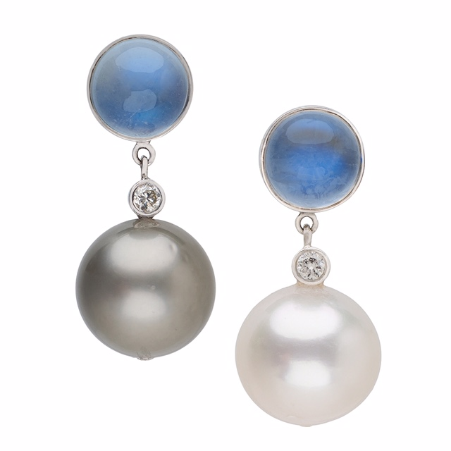 18K White Gold Stud Earrings with Rainbow Moonstones, Diamonds, Tahitian and South Sea Pearls 11 mm, AA quality.  Price : $ 1,290.00