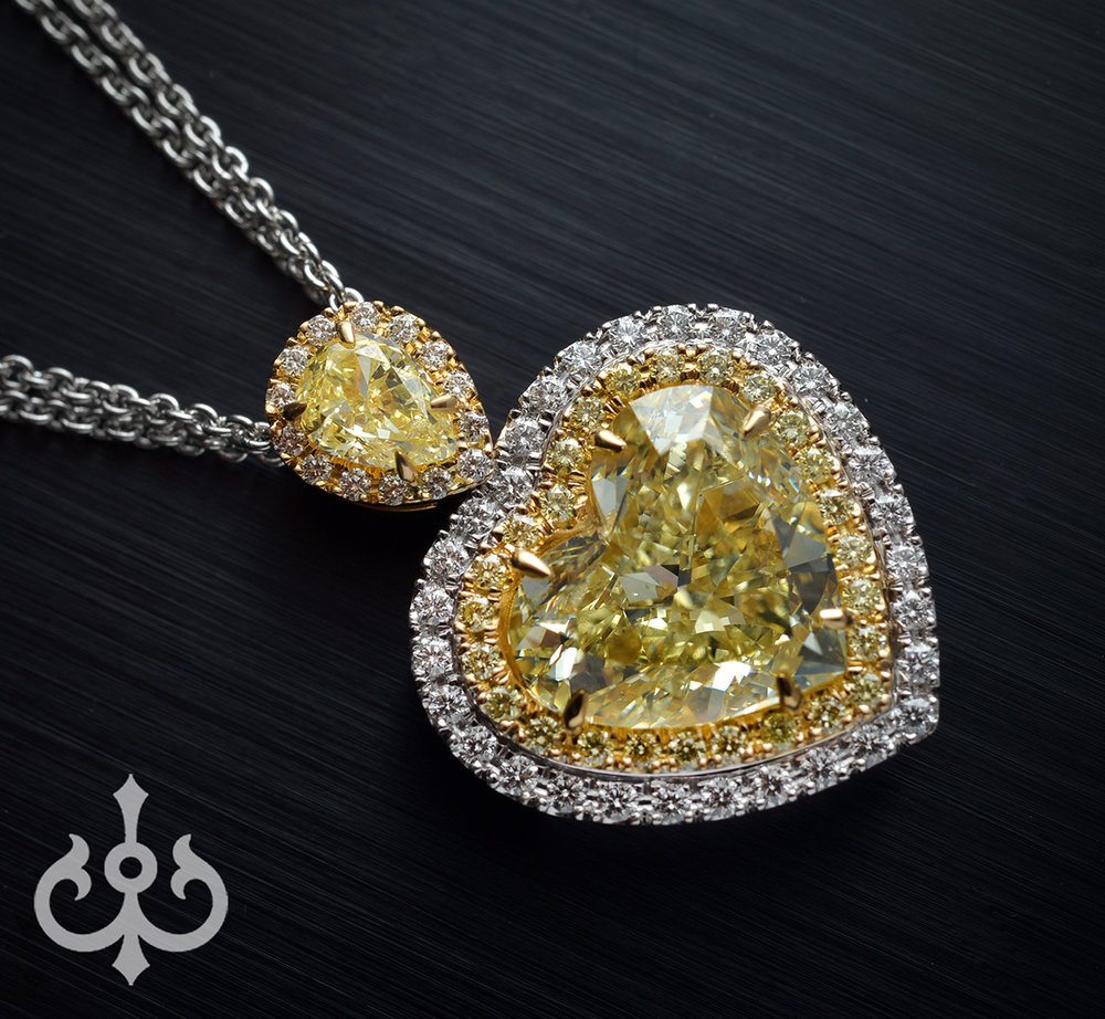 Custom made yellow heart shape diamond pendant atelier eline custom made yellow heart shape diamond pendant atelier eline private jeweler services aloadofball Gallery