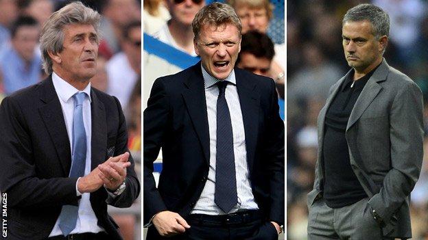 The new boys. Pellegrini, Moyes & Mourinho. Image via bbc.co.uk