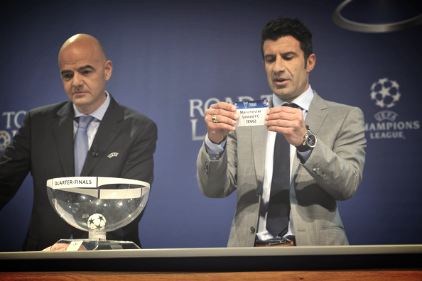 Luis Figo making the Champions League draw last week