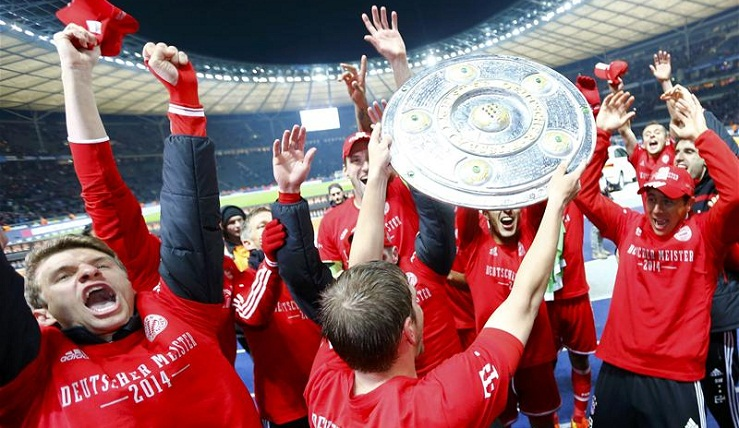 Bayern celebrate winning another Bundesliga title (Photo by Kai Pfaffenbach/Reuters)