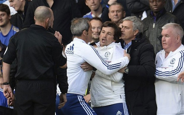 The Chelsea bench were pretty pissed after Mike Dean awarded Sunderland a late penalty (Reuters)