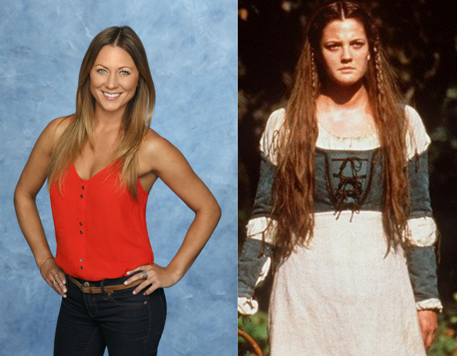 *I don't think Renee actually looks like Drew Barrymore, but I awarded her Danielle from Ever After because they both rock a stern middle part, which princes probably like.