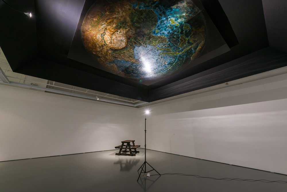 Mappa Mundi installed in Sous la Lune, exhibition Coproduction of Palais de Tokyo (Paris) and Institute of Contemporary Arts Singapore, at the ICAS, Photo Credit:  truphotos.com