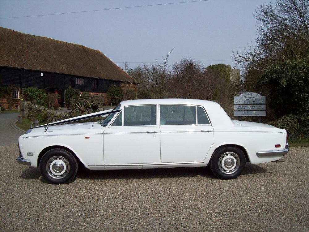 White Rolls Royce Silver Shadow Long wheel base