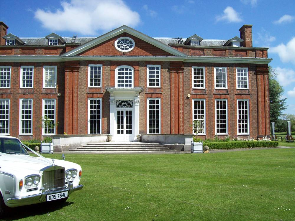 White Rolls Royce Wedding Car at Bradbourne House in Maidstone