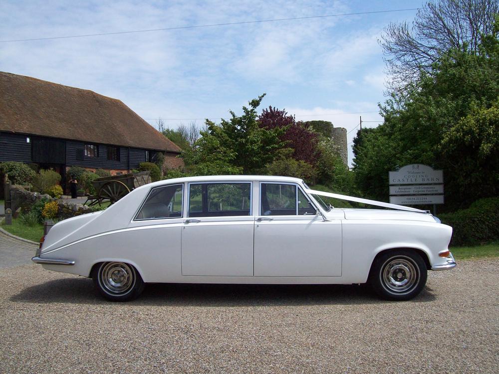 White Daimler 7/8 seat Limousine — Kent & Medway Wedding Cars