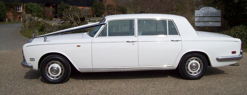White Rolls Royce Silver Shadow Limousine Wedding Car