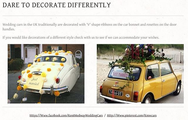 How will your wedding car be decorated? #kentwedding #kentbride #weddingblog #weddingideas #weddingcars #weddingcarskent #weddingcarselfie #weddingcarhire #dreamweddingcarhire #classicweddingcars