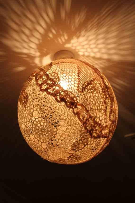 Beautiful diy lampshades strawbridge for Doily light fixture