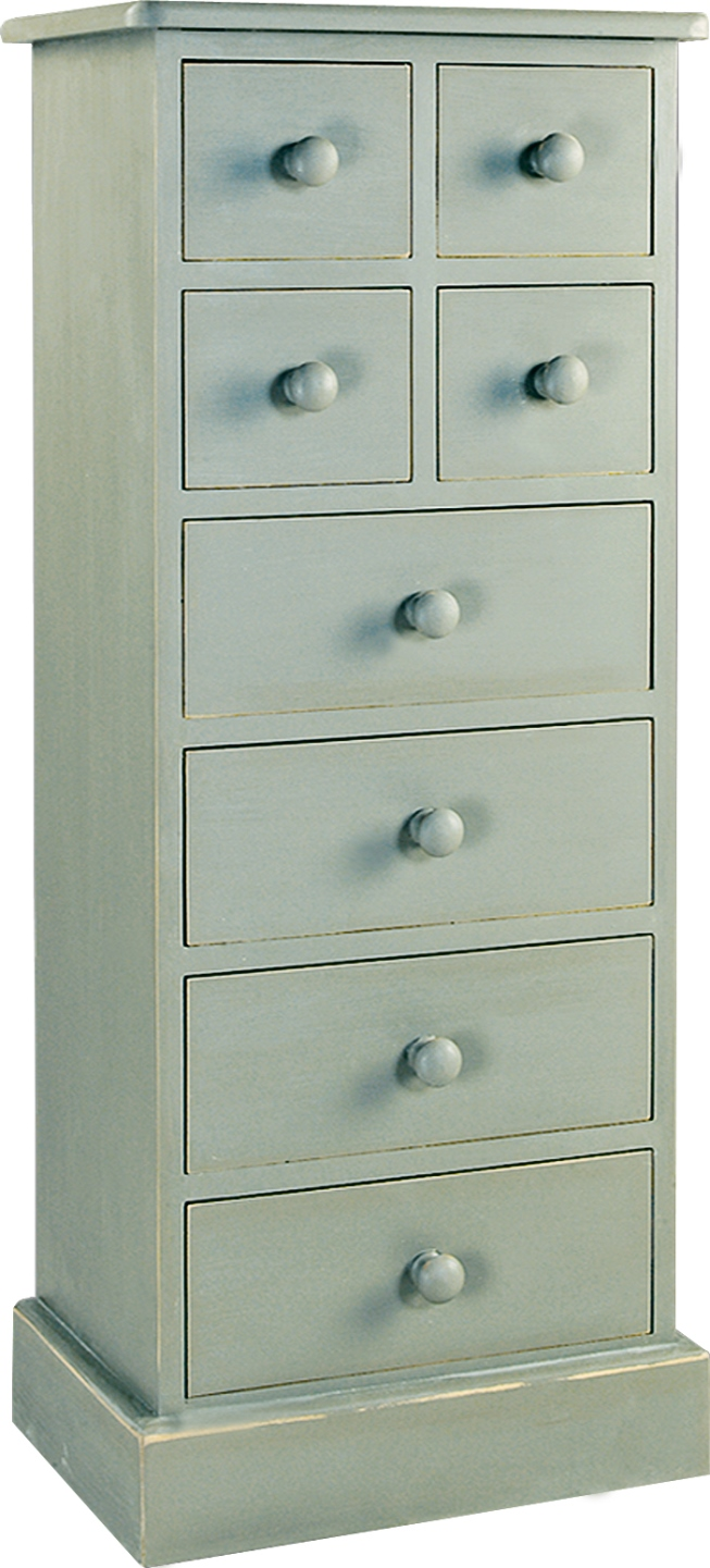 TALL CHEST OF 8 DRAWERS  w 46 x d 32 h 110 cm  €433  Product Code: TL-1031  This piece may be ordered in any of the Heritage colours and finishes.