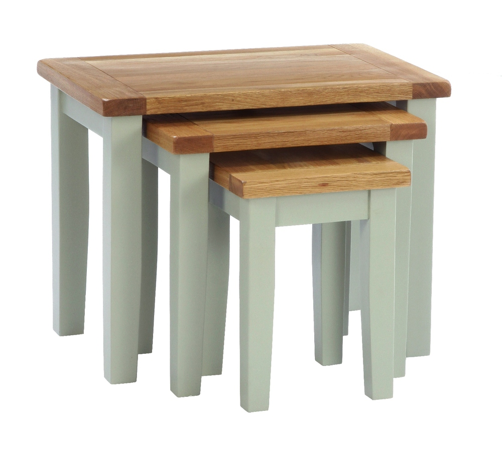 Nest of Tables Colour-French Grey Large: w 68 x d 44 x h 54 cm Medium: w 49 x d 38 x h 49 cm Small: w 32 x d 32 x h 43 cm € 315 Product Code: ANB012