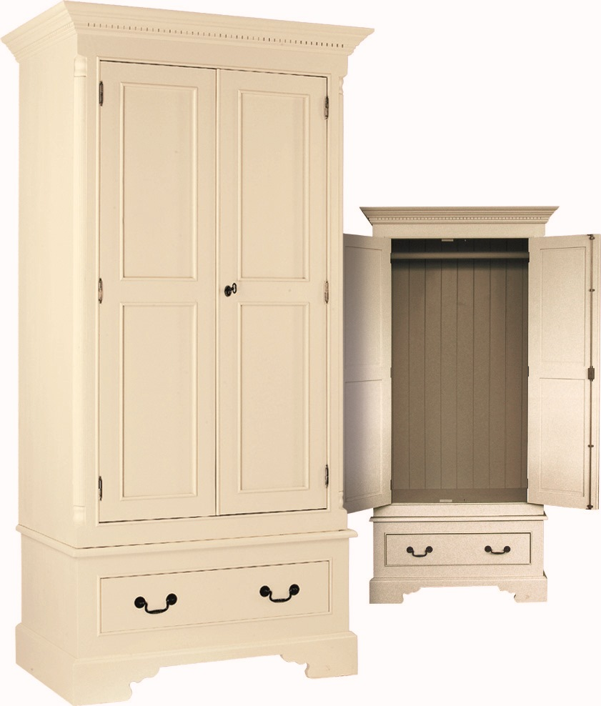 SINGLE WARDROBE, 2 DOORS, 1 DRAWER  w 102 x d 66 x h 202 cm  € 1,470  Product Code: GL-2003  This piece may be ordered in any of the Heritage colours and finishes.