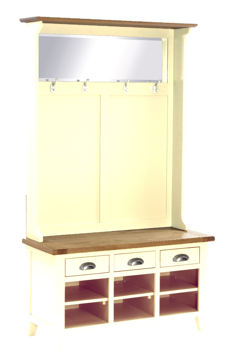 Hall Unit with Bench, Shoe Storage, Coat Rack and Mirror Colour-Ivory w 110 x d 45 x h 190 cm €840 Product Code: CANB115