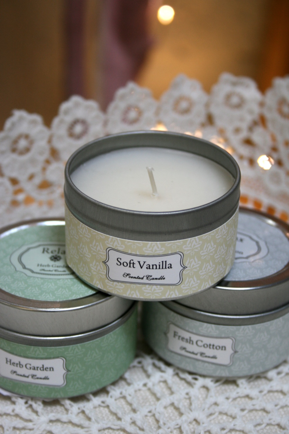 Scented Candles - €2.75 each  Lace Basket - €8.00