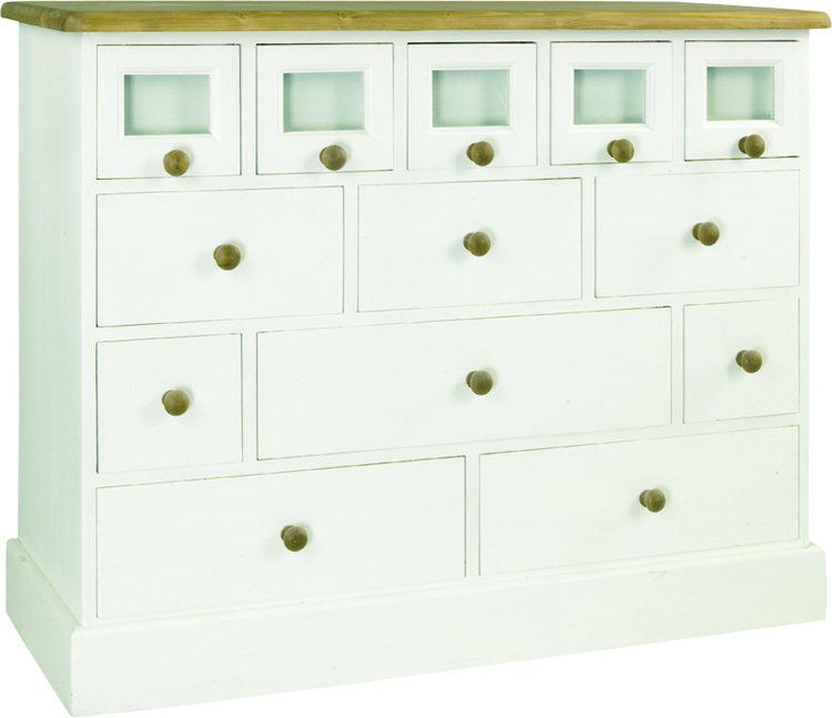 HERITAGE TRADITIONAL LINE CHEST OF 13 DRAWERS, GLAZED FRONTED  w 118 x d 48 x h 94 cm  € 1,076 ( PRICE DROP NOW € 911 )  Product Code: TL-1104   This piece may be ordered in any of the Heritage colours and finishes.
