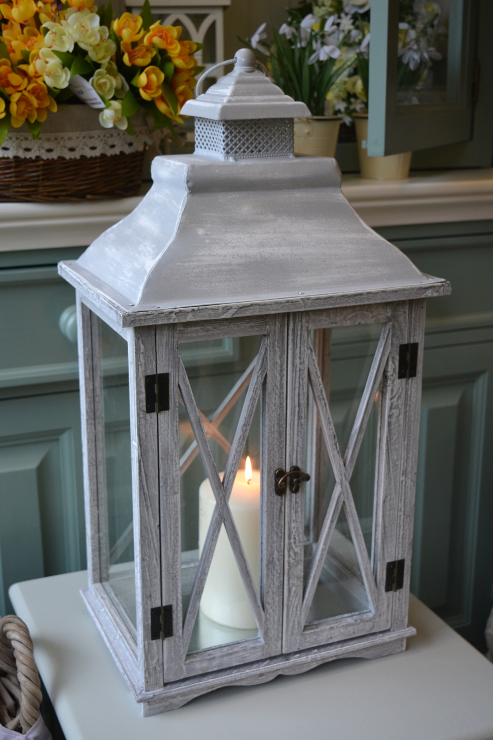 Double Door Grey Wash Candle Lantern  €66