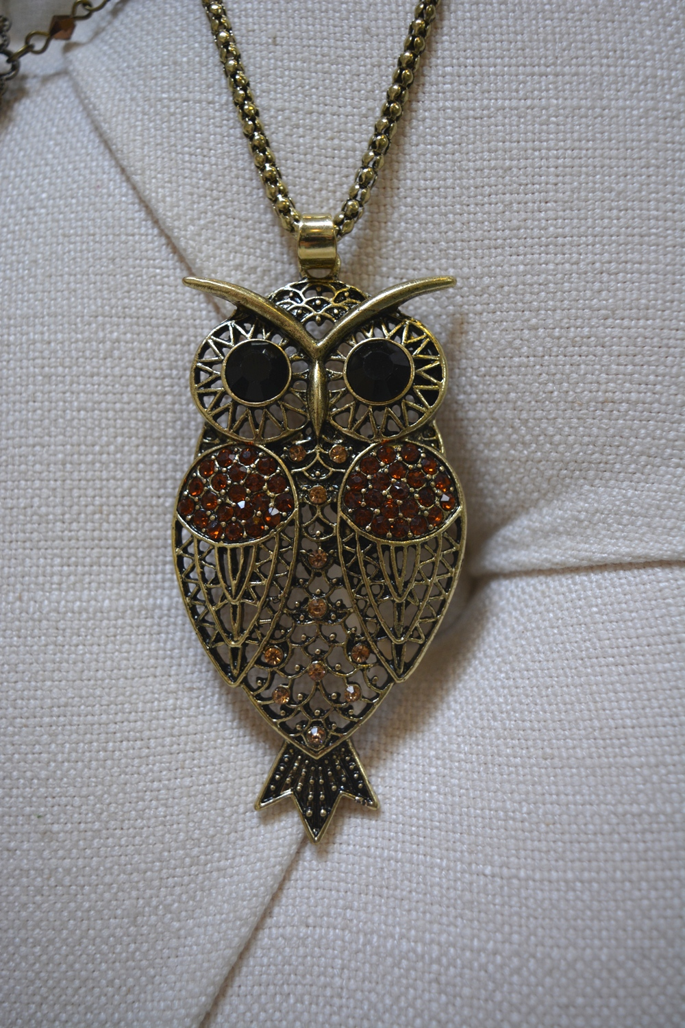 Embellished Owl Pendant Necklace ~ €14.00