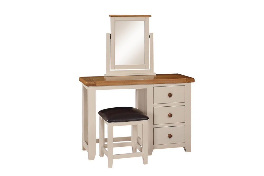 JT030   Mirror   W:590 x H:675    €95 JT031   Dressing Table/Desk   W:1150 x D:440 x H780   €535 JT032   Stool   W:400 x D:400 x H:450    €95 All Available in Ivory Only