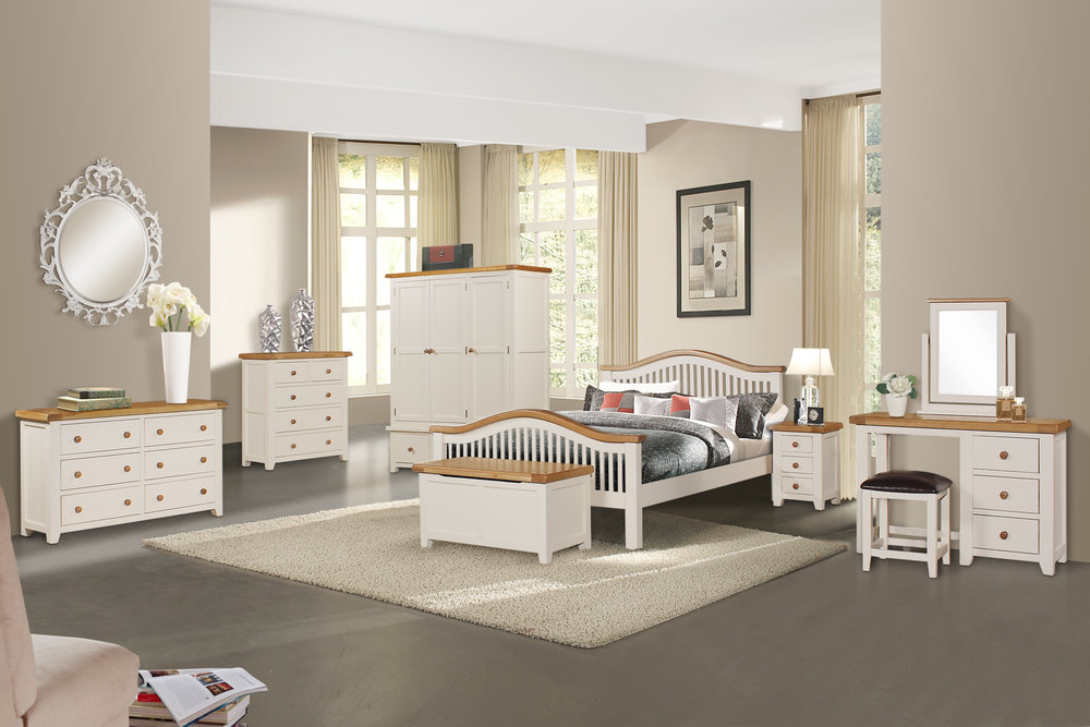 New bedroom furniture finished in Ivory and Oak to match with our Serene Collection(pictured above); and in a new, modern Limed Grey and Oakfinish (pictured below). For full details please go to our Bedroom Section in our catalogue pages.http://strawbridge.ie/index/#/beds/