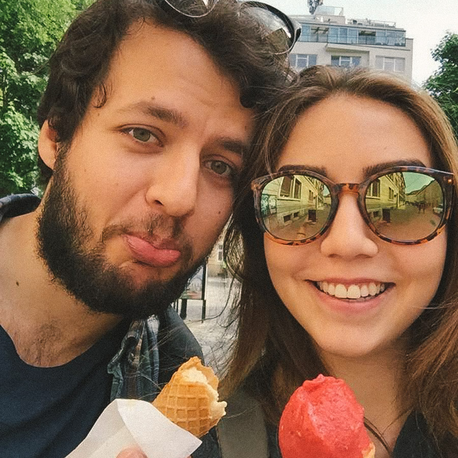 Enjoying some Koun Ice Creams in Bratislava