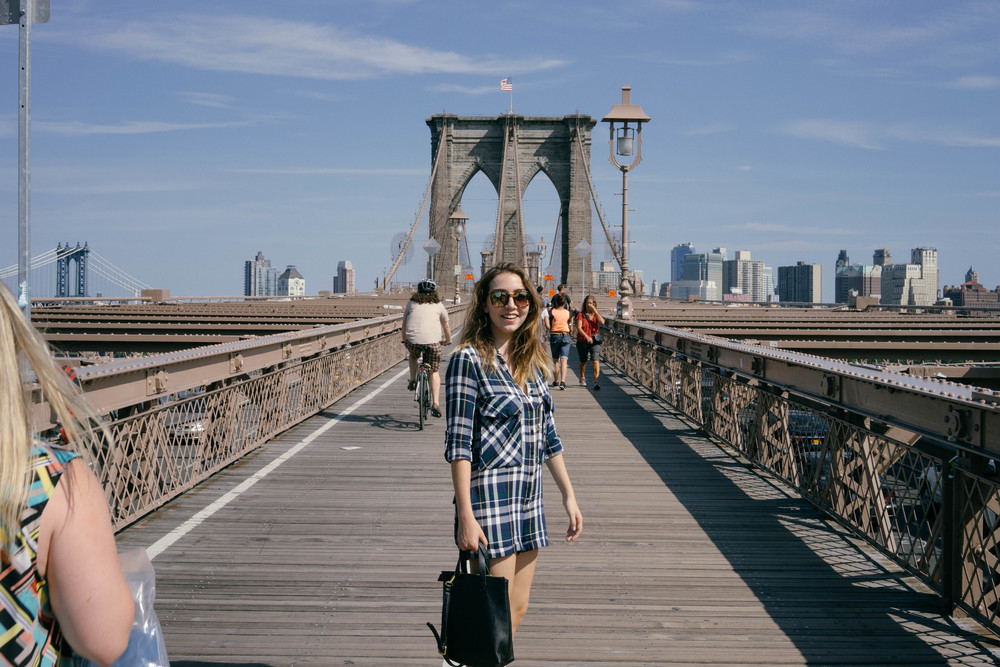 Exploring the Brooklyn Bridge in the peak of summer. This and other travel tips and stories at www.MadeinMoments.com