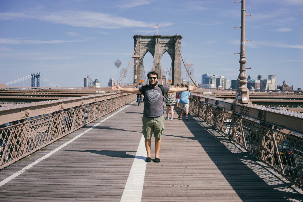 Walking across the Brooklyn Bridge for the first time! Amazing views and smart travel tips by www.MadeinMoments.com