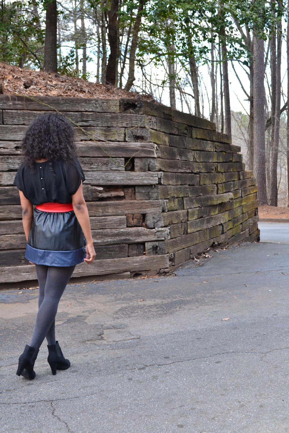 Leather Jacket: Wilson's Leather/  Top: Forever 21/  Skirt: Macys/  Tights: Macys/  Booties: Rampage ( view similar ) / Belt: Vintage