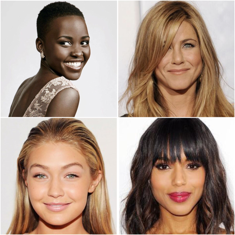 Images taken from... http://www.milliontalks.com/topic/337-celebrities-beauty-secrets/ ; http://www.harpersbazaar.com/beauty/makeup/advice/a3246/lupita-nyongo-beauty-secrets-0914/ ; http://www.byrdie.com/get-gigi-hadids-glow?ps=tag&tag=gigi-hadid ; http://www.allure.com/hair-ideas/2014/best-celebrity-bangs#slide=8