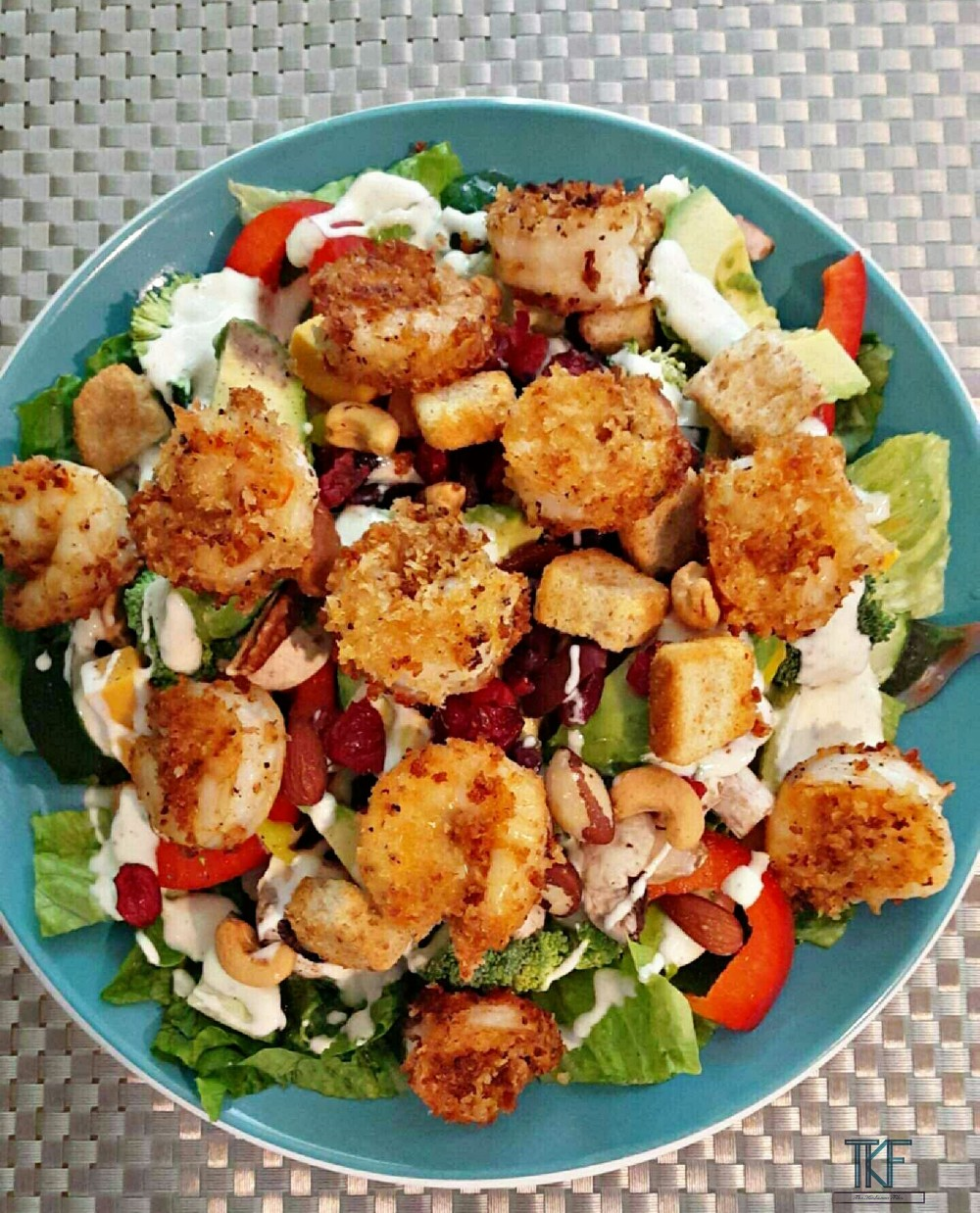 Homemade loaded shrimp salad (cooked in 100% Coconut Oil)