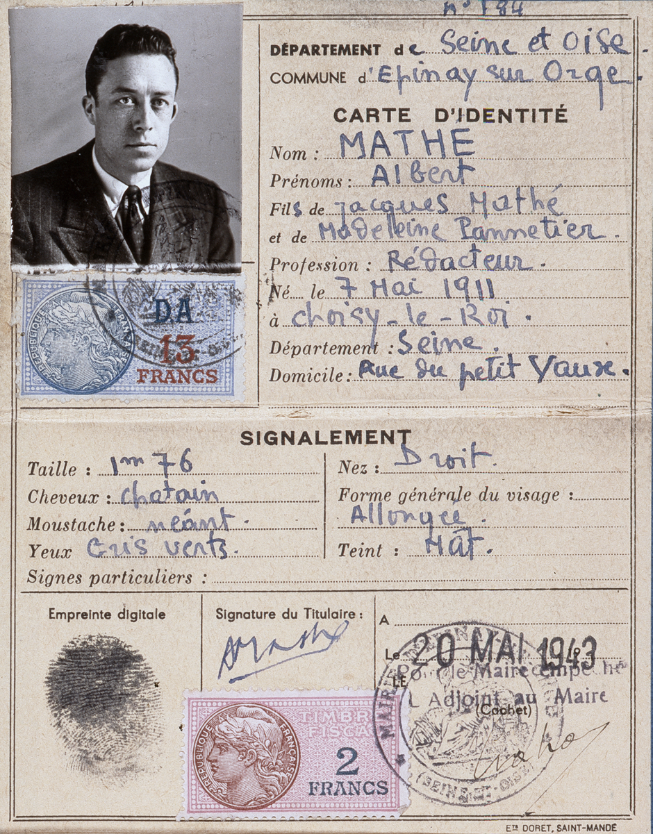 Camus false identity card, in the name of Albert Mathé, writer. All of the information on the card – birth date, place, parents - is false. (Courtesy of Collection Catherine et Jean Camus, Fonds Camus, Bibliothèque Méjanes Aix-en-Provence, France. All rights reserved.)