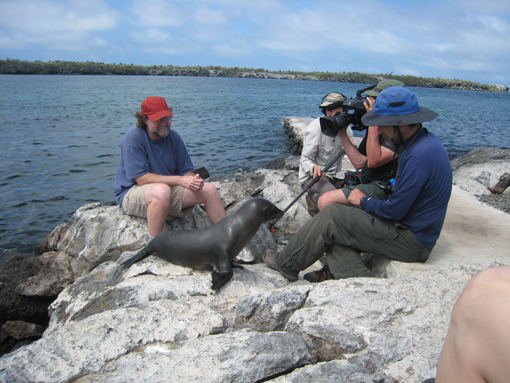 Sean on location in the Galapagos Islands with film producer John Rubin (in blue hat).