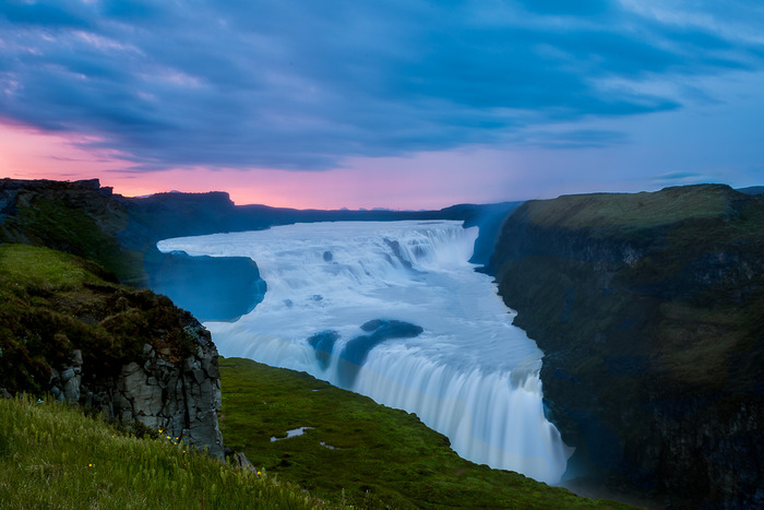 Evening glow, Gullfoss Waterfall, Iceland
